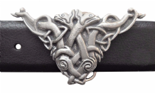 Entwined Celtic Dogs Pewter Belt Buckle - BB277